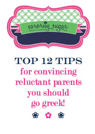 A frequently asked question on the sorority sugar blog is about how to convince non-greek parents that it's a good idea to join a sorority. Fight the media stereotypes and misinformation with your own facts about going greek! <3 BLOG LINK: http://sororitysugar.tumblr.com/post/72609997949/talking-to-reluctant-parents-about-going-greek#notes