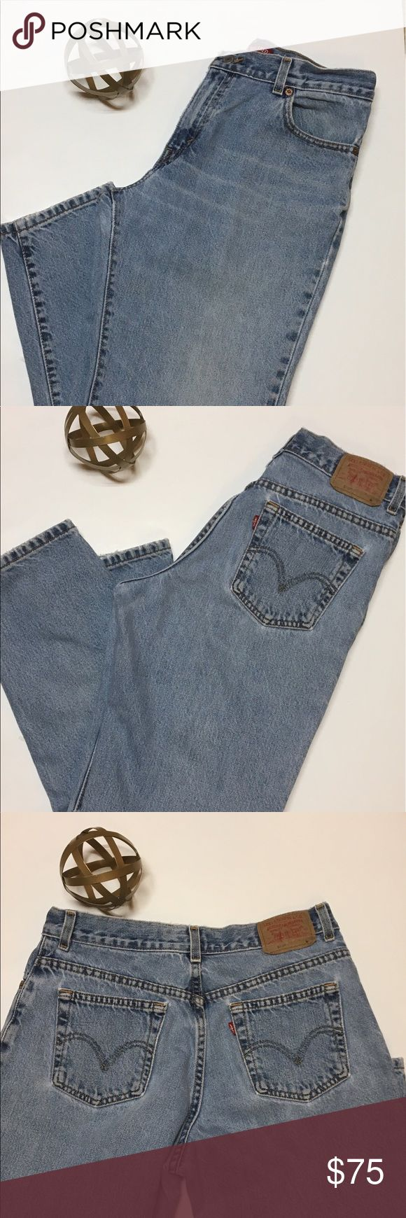 66f71a1ea2f3 Vintage 550 Levi s Relaxed Fit. Tapered Leg. Some wear at the bottom of each