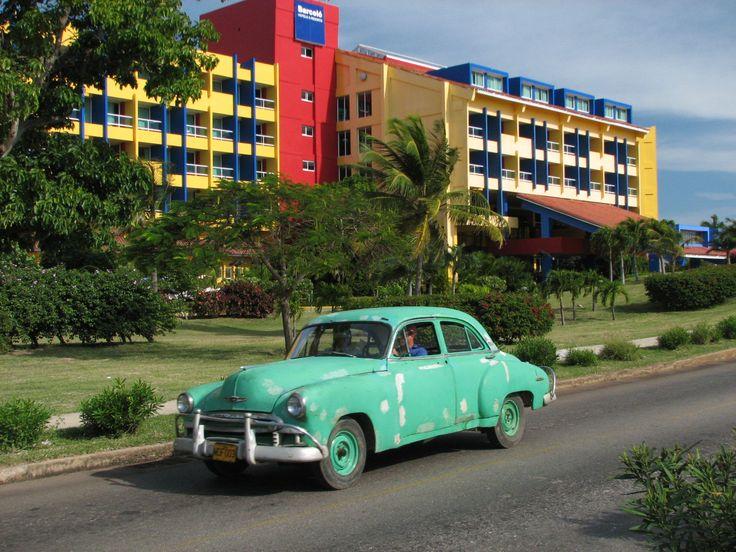 Green 1950 Chevrolet in Varadero, Cuba.