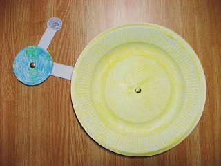 Een simpele knutsel waarmee je laat zien hoe de aarde om de zon draait en de maan om de aarde.