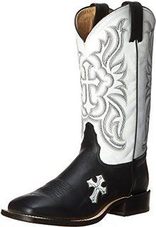 Tony Lama Women's Royal Black Cow San Saba White Tops Western Cowgirl Boots - HeadWest Outfitters