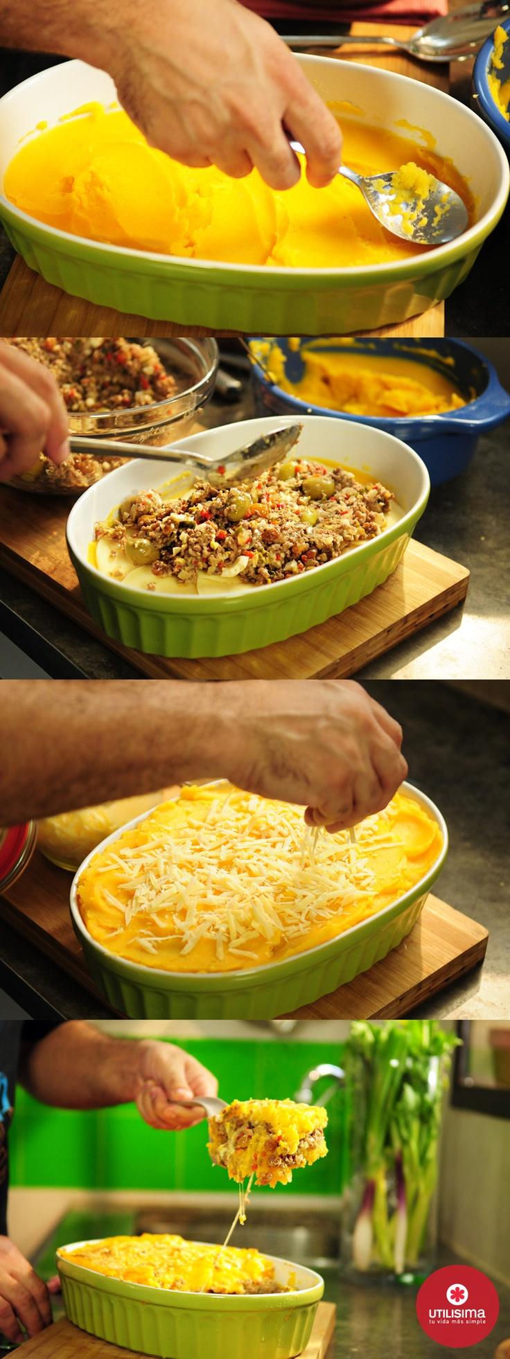 Pastel de papa y calabaza, por Santiago Giorgini. http://www.utilisima.com/recetas/11392-pastel-de-papa-y-calabaza.html