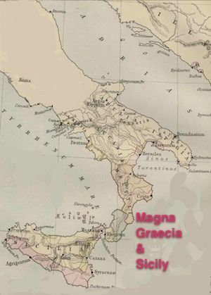Magna Graecia: Map of Magna Graecia, adapted  from an Ancient Greece site  in the public domain, comes from the 1886 Ginn & Company Classical Atlas, by Keith Johnston.