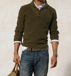 I found, at Goodwill, a vintage military shawl sweater, much like this one.: Mannenmode, Green Sweater, Fashion Style