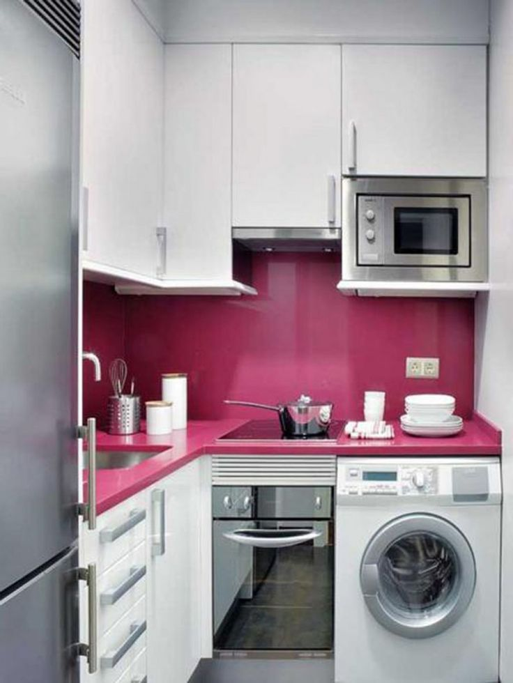 Kitchen , Modern Small Kitchen Design; A Chic Combination Between Beauty and Functionality : Modern Kitchen Looks Contemporary With Pink Accent
