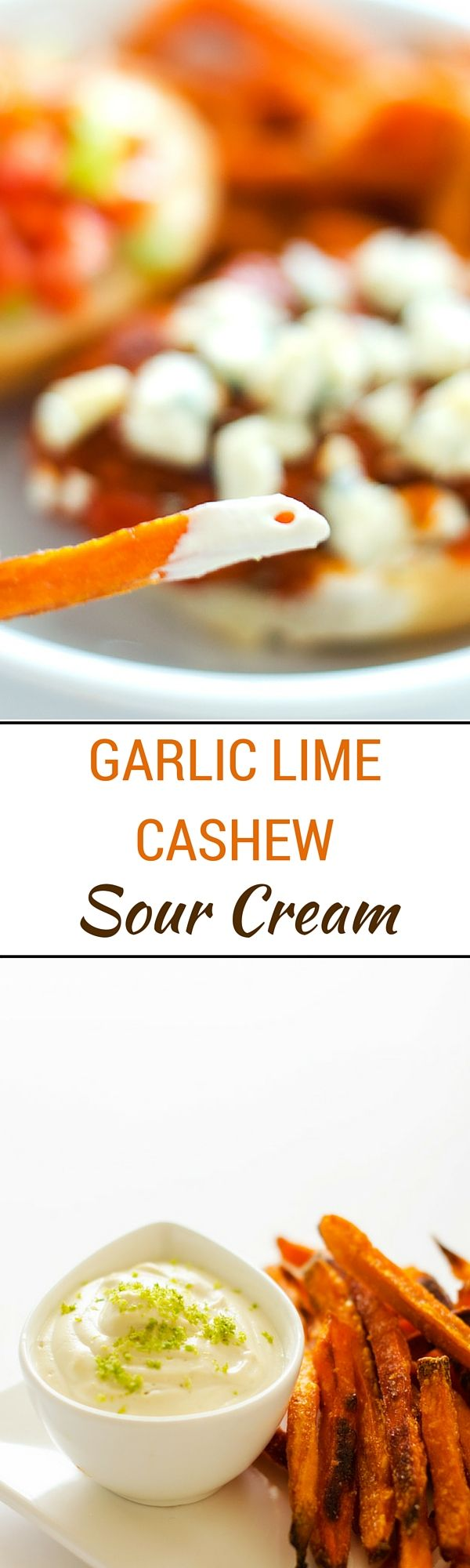 Garlic Lime Cashew Sour Cream - You won't miss the dairy in this healthier alternative to sour cream. Dairy-Free, Gluten-Free & Vegan. via @wendypolisi