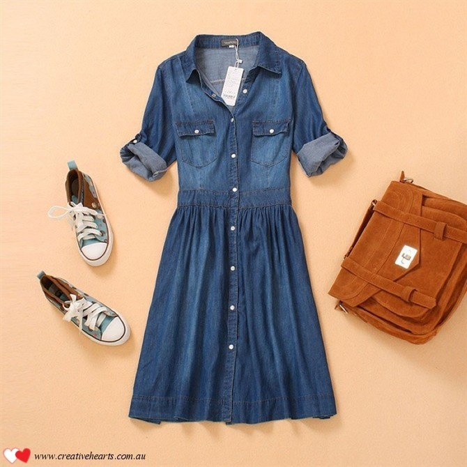 Classic everyday dress 100% cotton denim dress! Limited stock so hurry. Sizes available include S, M, L, XL, XXL, XXXL Worldwide FREE shipping to over 140 countries. $43.00
