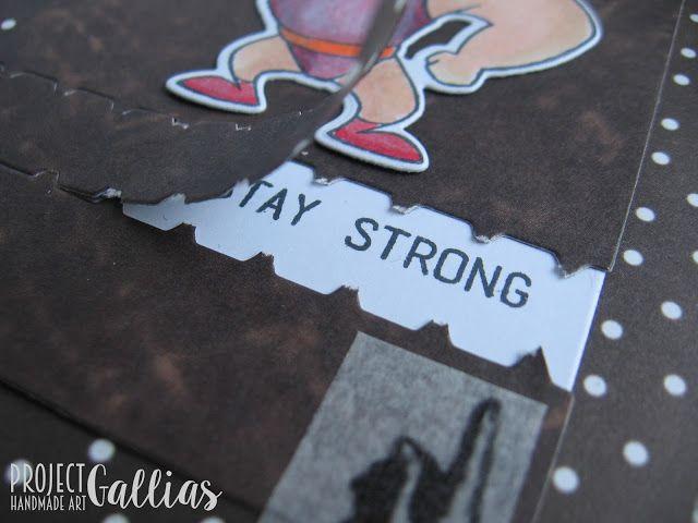 ProjectGallias: #projectgallias, kartka, suwak, siłacz, card, zipper, strongman, vintage, retro, copic markers,
