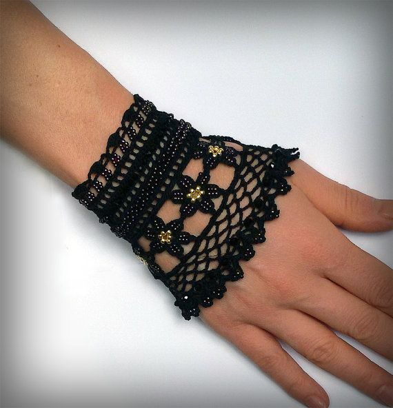 Free shipping.Viktoria.Black  beaded cuff - bracelet with beaded flowers and black crochet lace