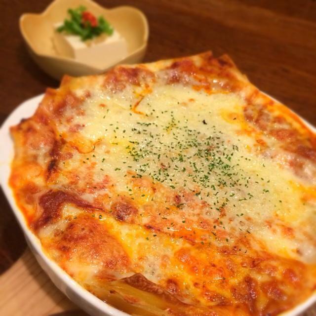 今日の晩ご飯は、ラザニア! あと冷奴の手作り柚子胡椒添え、オニオンスープ。 - 146件のもぐもぐ - ラザニア!高カロリーばんざーい(*^^*) by yasukoarim8ZV