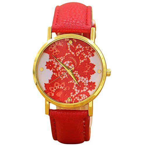 Sanwood Damen Lace Gedruckt Uhr Armbanduhr Watch (Rot) - http://uhr.haus/sanwood/rot-sanwood-damen-lace-gedruckt-uhr-armbanduhr
