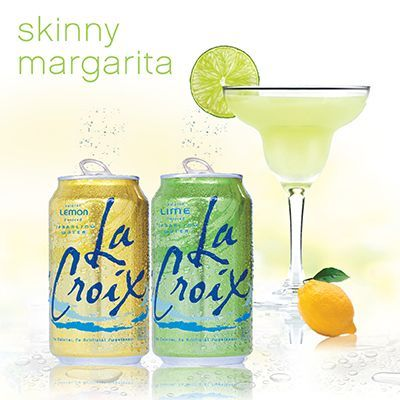 LaCroix skinny margarita 1oz patron tequila 1/4oz triple sec equal parts of LaCroix lemon and LaCroix lime sparkling water Shake and garnish with lime.