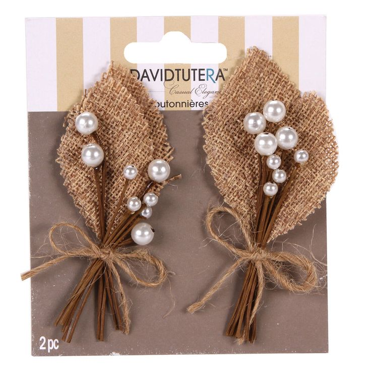 Add a touch of natural charm to your special day with burlap boutonnieres by David Tutera Casual Elegance. These natural looking boutonnieres are perfect for introducing the casual elegance theme into the wedding fashion for the groom and his groomsmen.