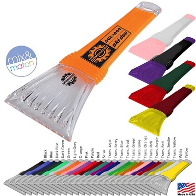 """Awesome Ice Scraper! Always be prepared for a snowy winter! These are so cool with 625 different Color Combos for your Logo! MIX & MATCH Only $1.49/each Promotional Great Lakes 10"""" Ice Scraper 
