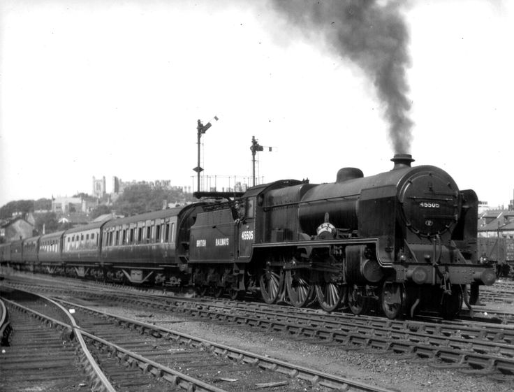 "BR ex-LMS Patriot Class 5XP 4-6-0 45505 ""The Royal Army Ordnance Corps"" departing Lancaster on a Workington / Whitehaven to London Euston service (those were the days!) [29 July 1948]"