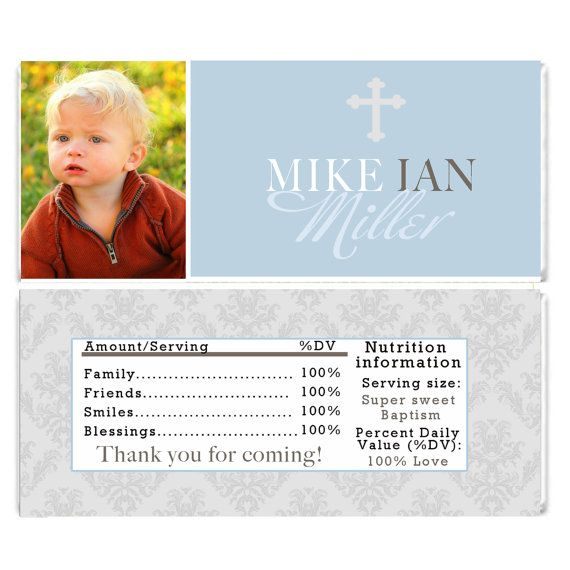 Blue White Damask Baptism Candy Bar Wrappers - Printable Personalized Baptism Party Favors Custom Party Decorations