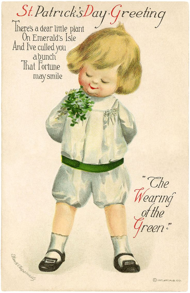 Vintage St Patrick's Day Picture - Cutest Child! - The Graphics Fairy