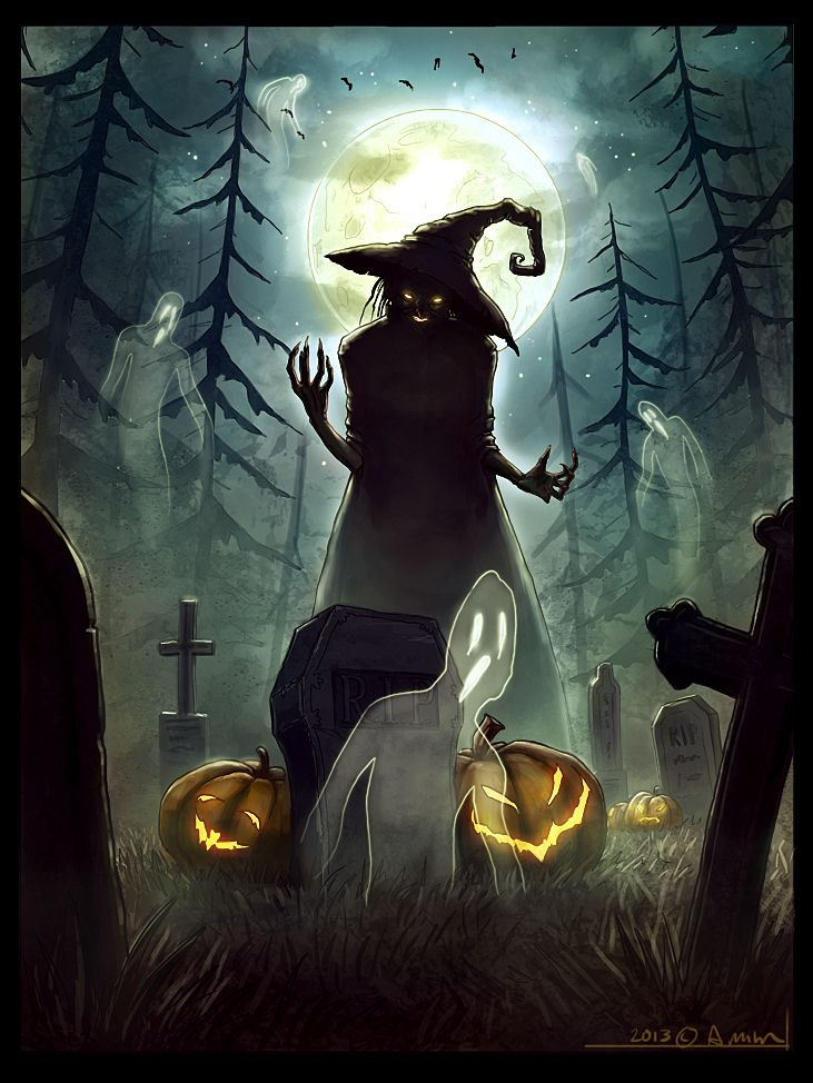 A quick halloween themed painting done for a photoshop demo at a comic convention in my hometown.