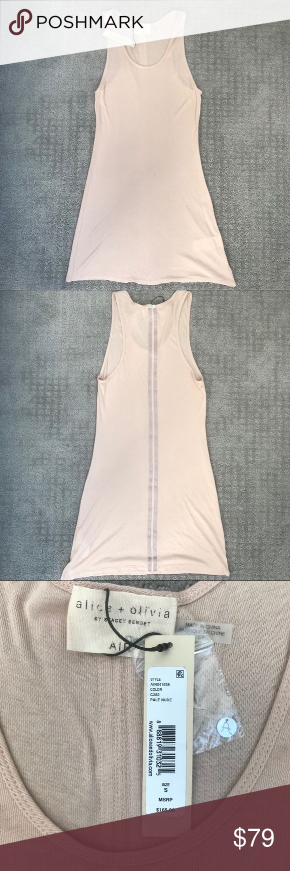 Alice + Olivia AIR Maryellen Long Tank- Nude Super Comfy NWT Alice + Olivia AIR Maryellen Long Tank Top  in Nude. Created by Stacey Bendet. This top is perfect to wear alone or with a cute blazer. Vertical stripe detail down middle of back. 100% Polyester. Last pic is just to show it on a model for reference.   Measurements are shown but let me know if you'd like more.   Open to offers. Alice + Olivia Tops Tank Tops