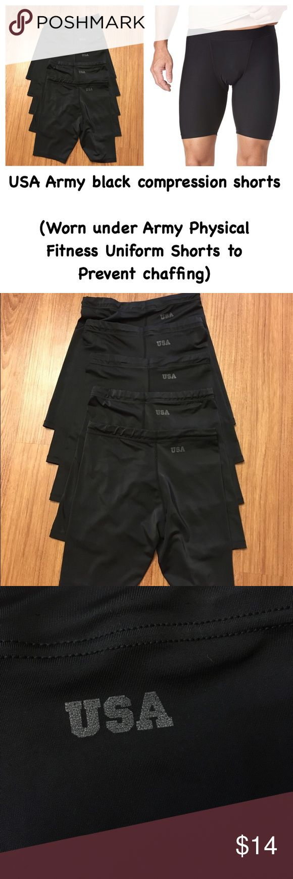 USA Army black PT compression shorts: all size L 📦Same day shipping (as long as P.O. is open for business). ❤ Measurements are approximate. Descriptions are accurate to the best of my knowledge.  Price is for 1 pair. I have 4 left. These shorts are traditionally worn under the Army physical fitness shorts to prevent chaffing/ridding. They are all size large: synthetic stretch blend. No material tags. All are stamped with the USA logo. No holes/stains. Smoke/pet free. Model photo only to…