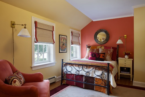 Pretty Bed: Wall Colors, Guest Bedrooms, Bedrooms Colors, Bedrooms Design, Colors Schemes, Eclectic Bedrooms, Bedrooms Ideas, Wall Design, Accent Wall