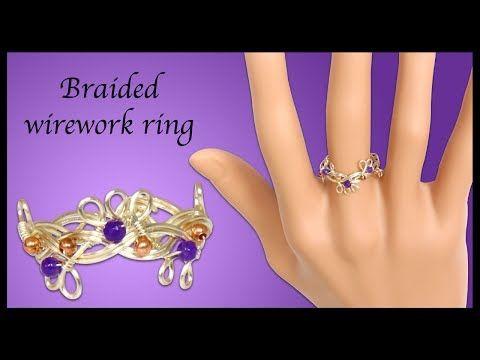 (736) DIY organic beaded wirework braided ring - YouTube