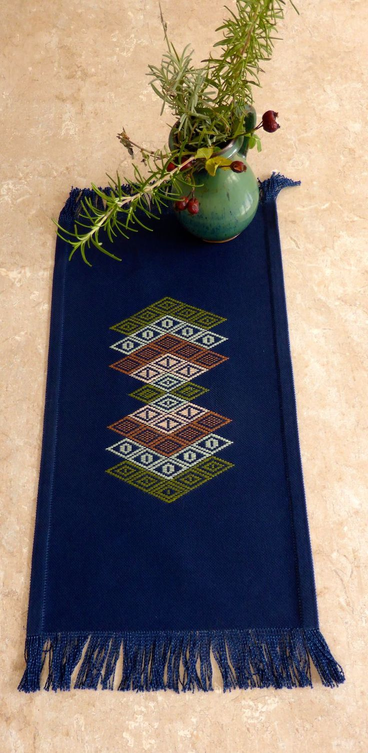 Kogin table runner by caro-rose-creations