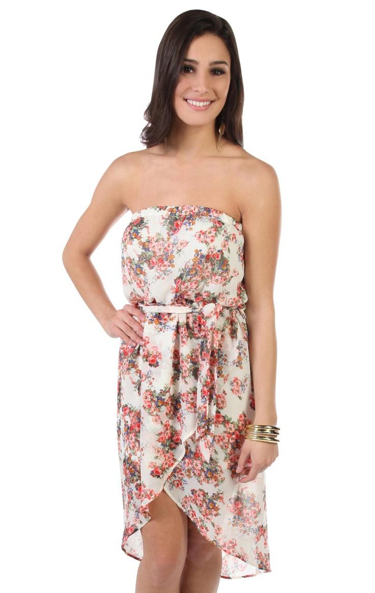 Deb Shops #floral bouquet patterned strapless high low #dress