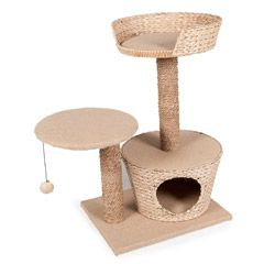 Purrshire Play  Scratch Water Hyacinth Cat Activity Centre on pet planet h77.5cm