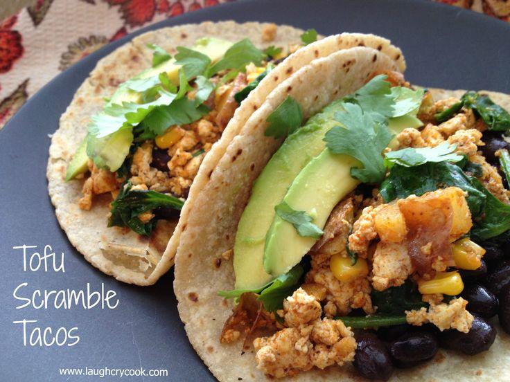 Tofu Scramble Tacos -- hearty savory vegan breakfast or easy weeknight ...