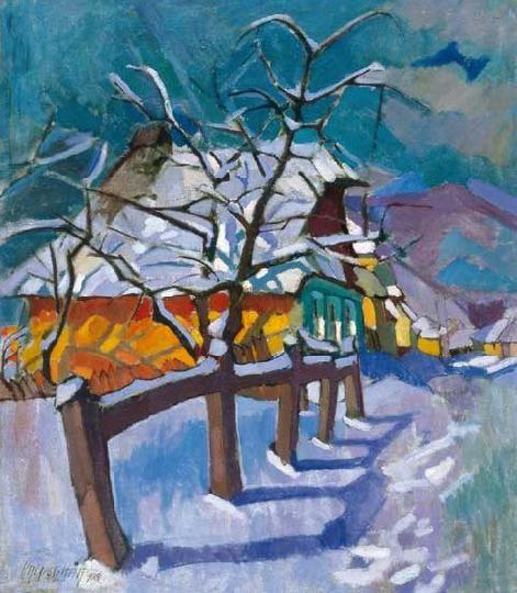Nagy, Oszkár (1883-1965) Snow-covered street in Nagybánya, 1924