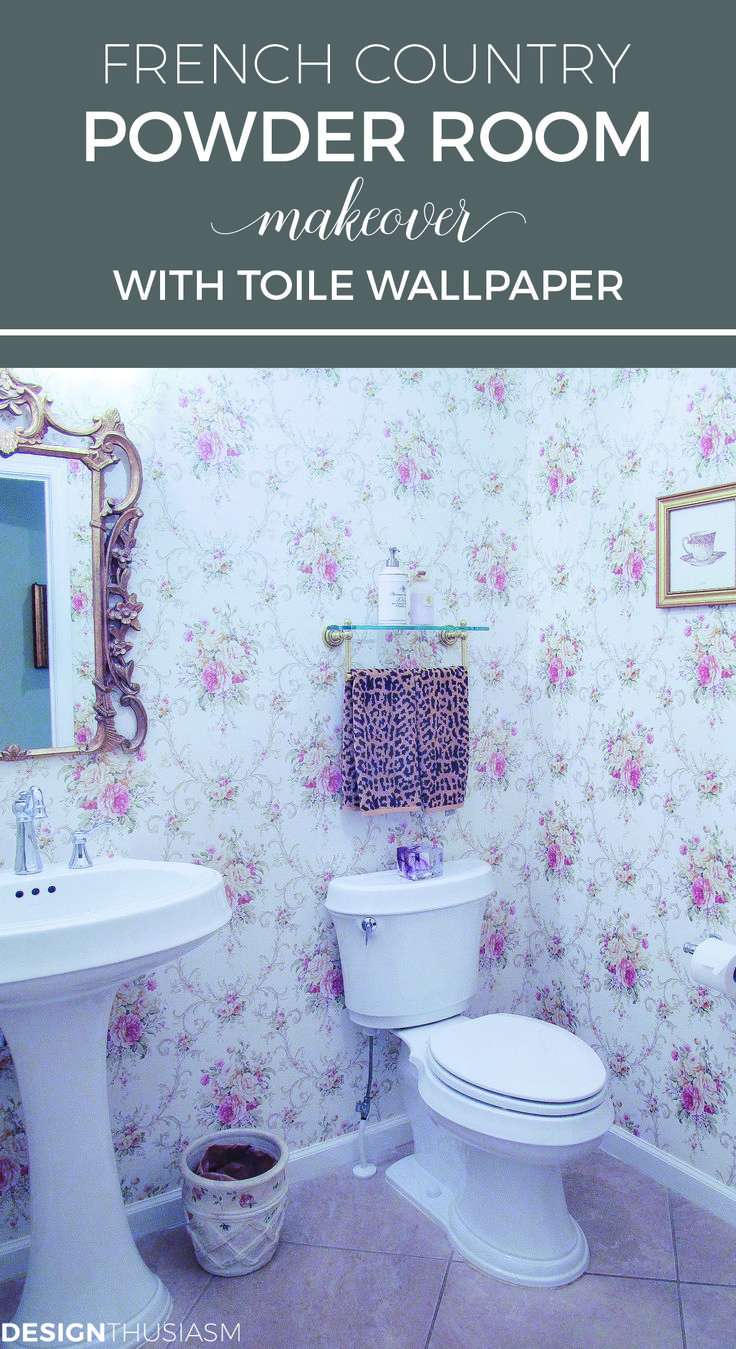 French Country Powder Room Makeover With Toile Wallpaper | Powder Room  Ideas With Vintage Mirrors |