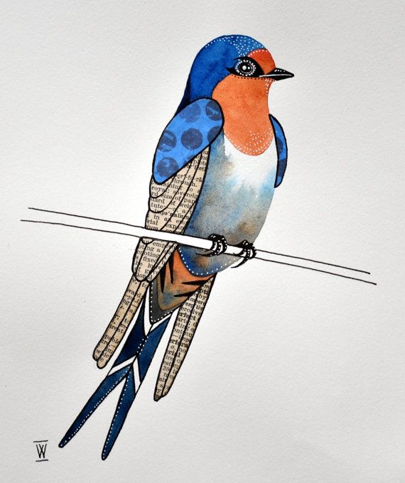 Original bird watercolour and collage painting - Welcome Swallow