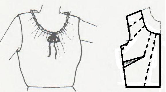 El costurero de Estella. Como hacer un escote redondo fruncido. Blusa con escote redondo fruncido.