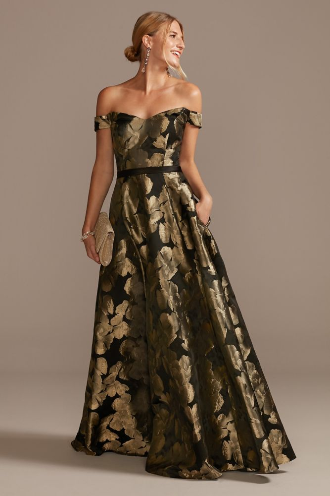 Off-the-Shoulder Metallic Brocade Dress   David's Bridal in 2021   Brocade  dresses, Black bridesmaid dresses fall, Mother of the bride dresses long