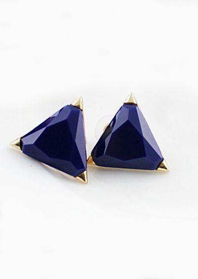 Fashion Stud Style Blue Triangle Earring