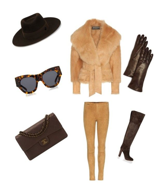 Brown Beauty! by couturediva63 on Polyvore featuring polyvore, fashion, style, Balmain, Polo Ralph Lauren, Chloé, Chanel, Bloomingdale's, Maison Michel, Karen Walker and clothing