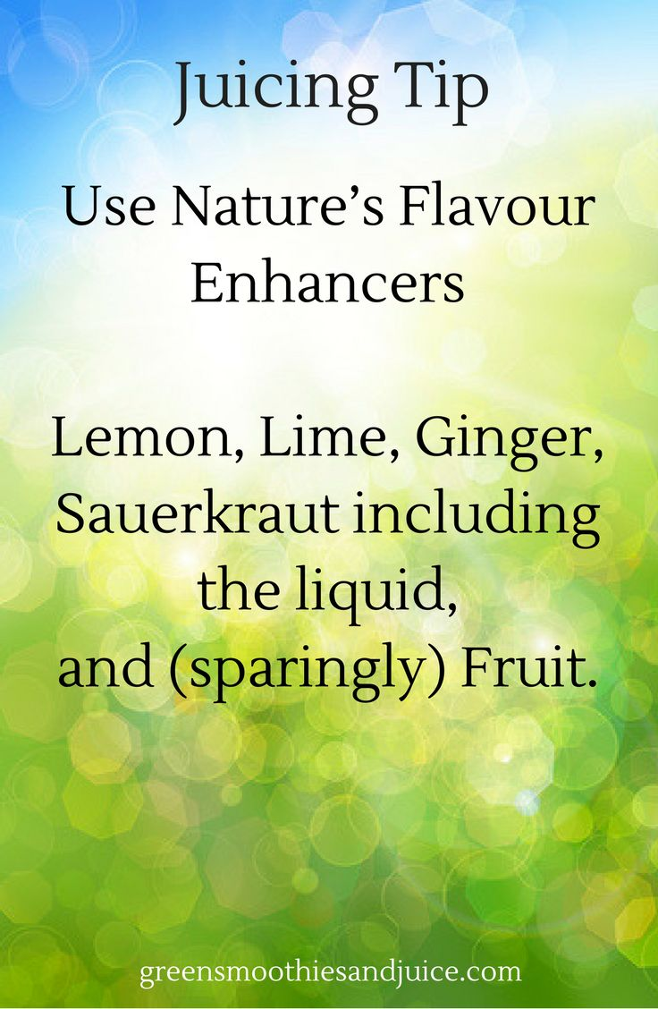 Use Nature's Flavour Enhancers to make a Delicious and Healthful Green Juice!  Some vegetables can have a very potent flavour, so it's a good idea to supplement your juice with:  Lemon Lime Ginger Sauerkraut including the liquid Fruit, but only sparingly.  Fruit like apple, pear, or citrus has a high water content and can be used with low water content vegetables like leafy greens, but don't rely on fruit.   #greenjuice #juice #juicing #healthtip #rawfood #eatyourveggies