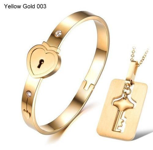 Eternal Love Bangle and Pendant Set - Stainless Steel / 18K plate, AU$29.95