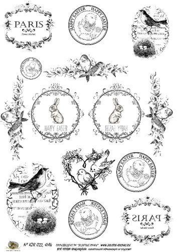 Картинки для декупажа к пасхе черно белые для распечатки