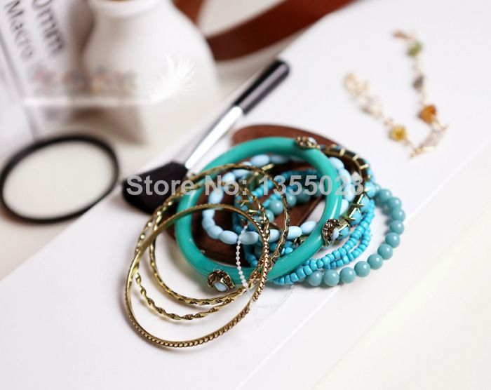 Europe and the Ameca jewelry Bohemian sea wind restoring ancient ways Clear blue beads multilayer bangle bracelet  overlap $7.11
