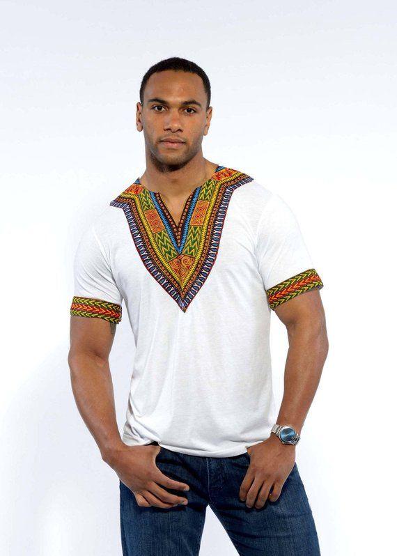 bede76b2e83 D iyanu Men s Ankara African Print Dashiki T-shirt (white) Plus Size ...
