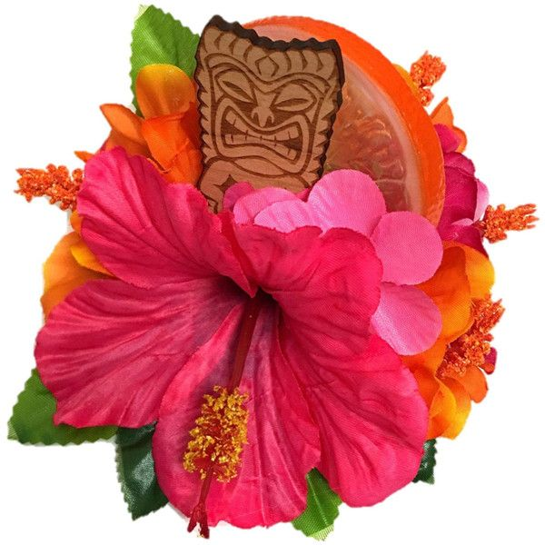 Tiki Queen Large pinup rockabilly retro vintage 50's tropical tiki... ($22) ❤ liked on Polyvore featuring accessories, hair accessories, hawaiian hair accessories, flower hair accessories, retro hair accessories, rockabilly hair accessories and pin up hair accessories