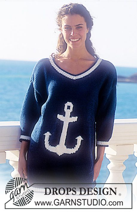 "DROPS 33-15 - Drops short sleeved sweater with anchor motif in ""Paris"". - Free pattern by DROPS Design"