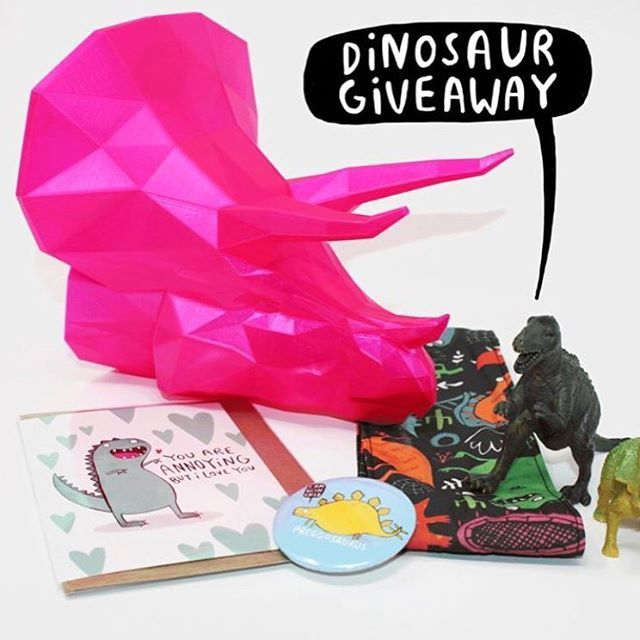 WIN DINOSAURS!  @m.i.k_designs  @katieabey and I have all teamed up to bring you this amazing pile of dinosaur goodies! The lucky winner will get: -An Annoying Dino card & Preggosaurus badge from  @katieabey -A dinosaur hair tie made by  @dawnyssewingroom -A 3D printed Triceratops head to go on your wall by  @m.i.k_designs  To be in with a chance simply: - Follow all three instagrams mentioned above - Tag a friend in the comments  You can enter on the other instas too if you want to increase your chances. We will choose a winner on Friday 16th.  GOOD LUCK  #dinosaurs #dinosaursrule #pink #hairties #walldecoration #preggosaurus #triceratops