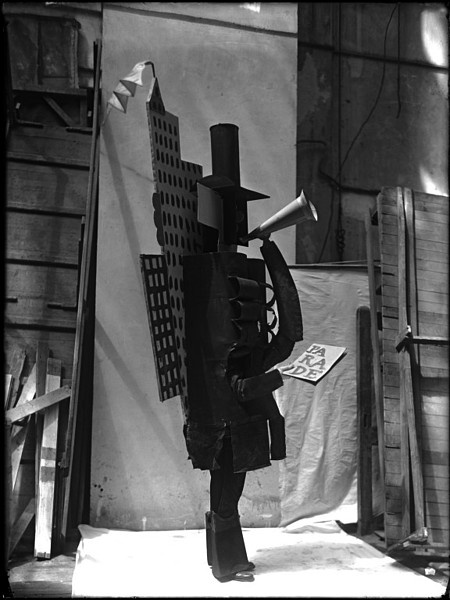 This is one of a collection of 27 glass negatives of the ballet Parade, taken by the photographer Lachmann. Parade was first staged by Diaghilev's Ballets Russes at the Théâtre du Châtelet, Paris, in 1917. It had a libretto by Jean Cocteau, music by Erik Satie, and costumes and sets designed by Pablo Picasso. The choreographer, Léonide Massine, danced the role of the Chinese Conjuror.