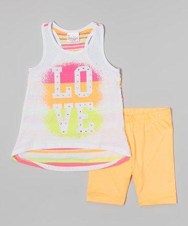 Look at this #zulilyfind! White 'Love' Tunic & Orange Shorts - Infant, Toddler & Girls #zulilyfinds