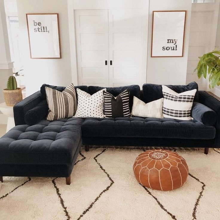 Sven Pacific Blue Right Sectional Sofa Home Living Room