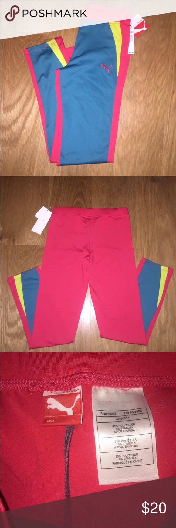 Puma Sport Leggings NEVER WORN. NEW WITH TAGS. very comfy perfect for any sport or running activity. They are a girls Large but I wear a size small in these type of pants and they fit me perfect. Puma Pants Leggings