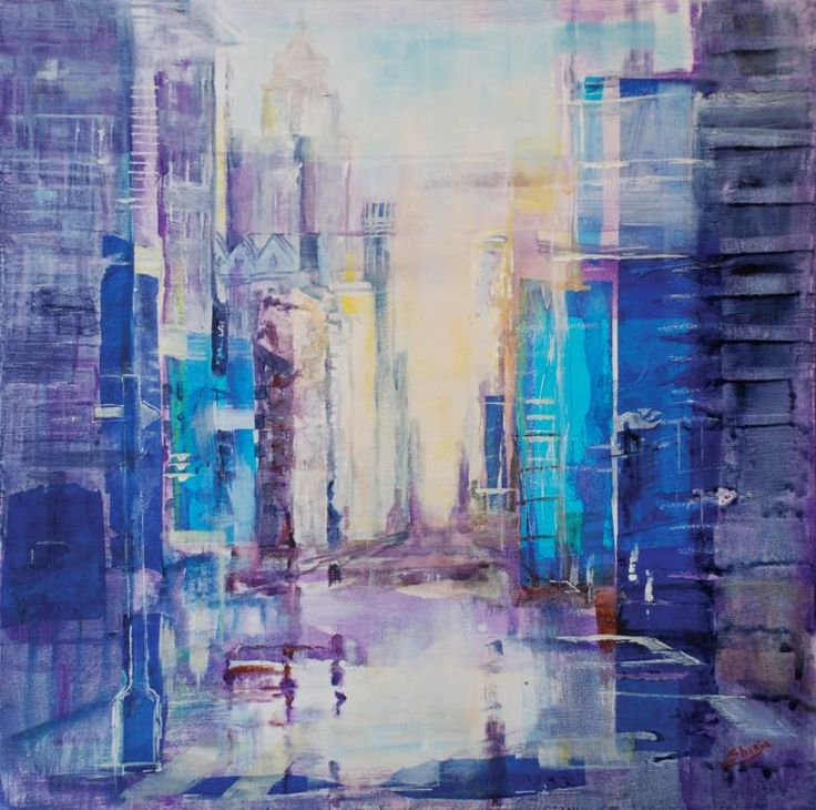New York Dream 2 by Shazia Imran - Acrylics, collage and mixed media on canvas.
